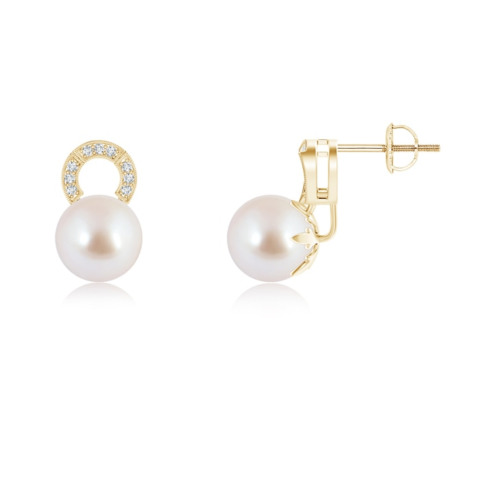 Angara Akoya Cultured Pearl Stud Earrings with Pave Diamonds uBYRJebuq