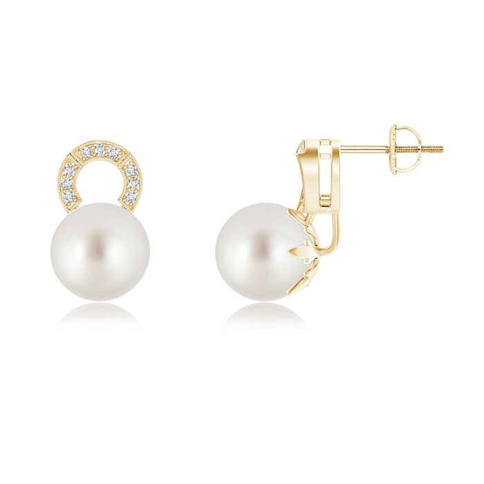 Angara South Sea Cultured Pearl Stud Earrings with Pave Diamonds LAXu7NRtFf