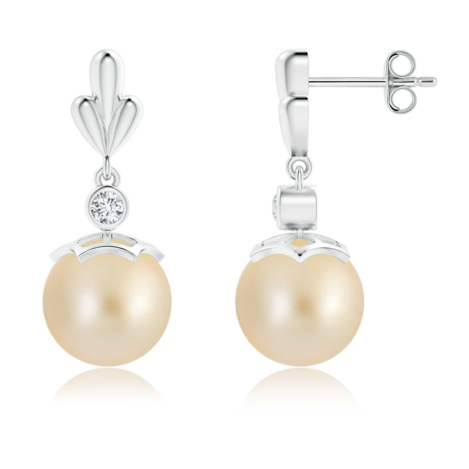 Angara Golden South Sea Cultured Pearl Earrings with Pear Motifs FZZF8