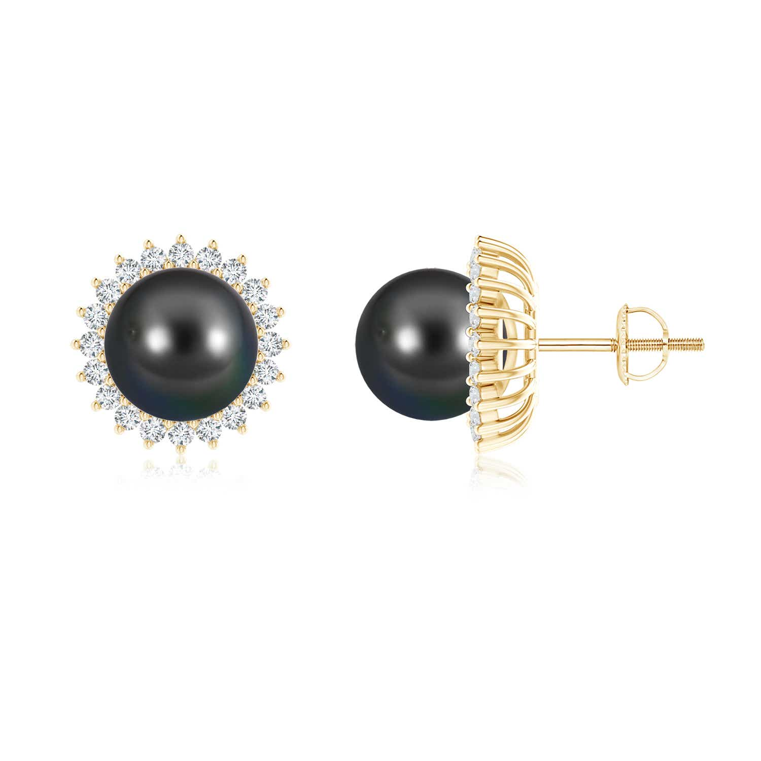 Angara Tahitian Cultured Pearl and Diamond Flower Halo Studs ujgTGMXWd
