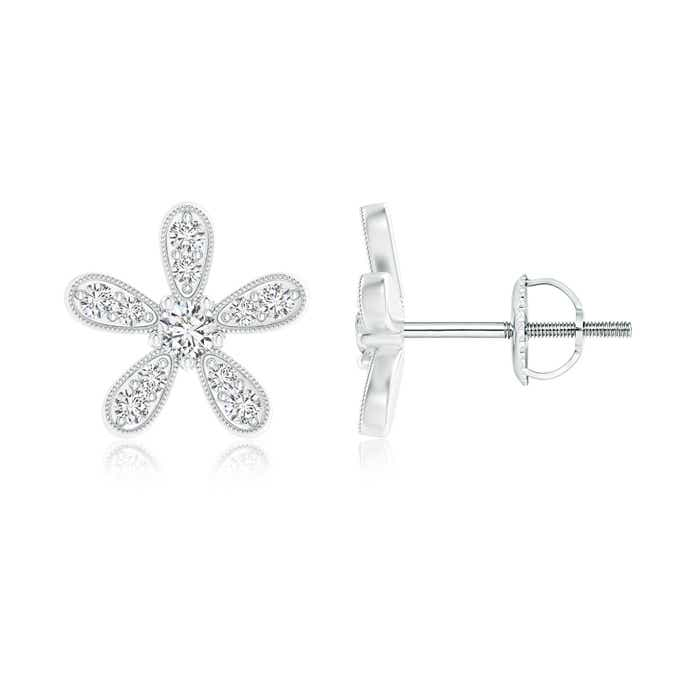 Daisy Flower Stud Earrings with Pave Set Diamonds - Angara.com