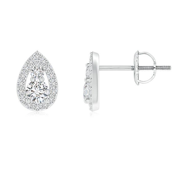 Two Stone Diamond Teardrop Stud Earrings - Angara.com