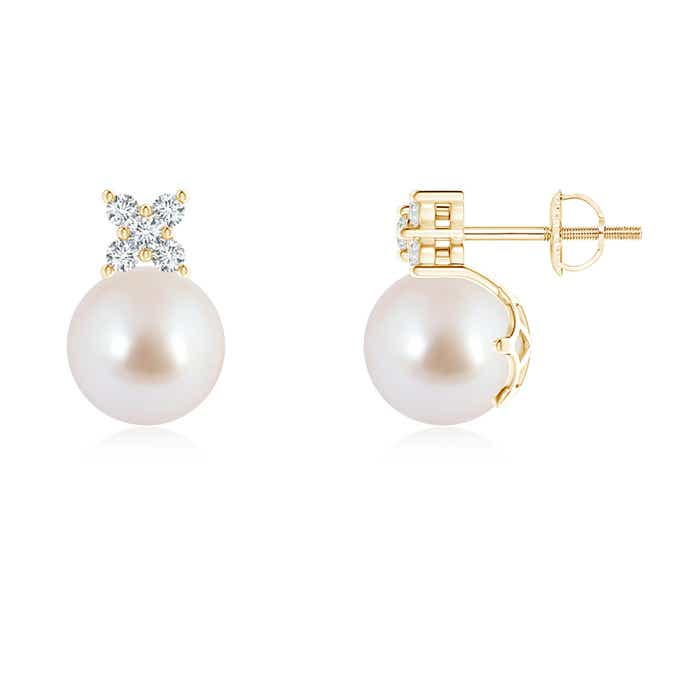 Angara Akoya Cultured Pearl Solitaire Flame Earrings