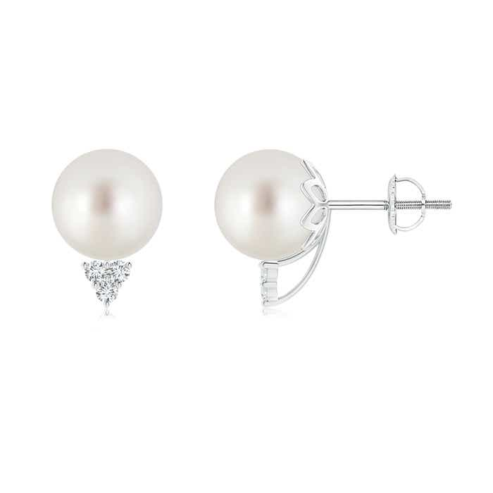 Classic South Sea Cultured Pearl Stud Earrings with Trio Diamonds - Angara.com