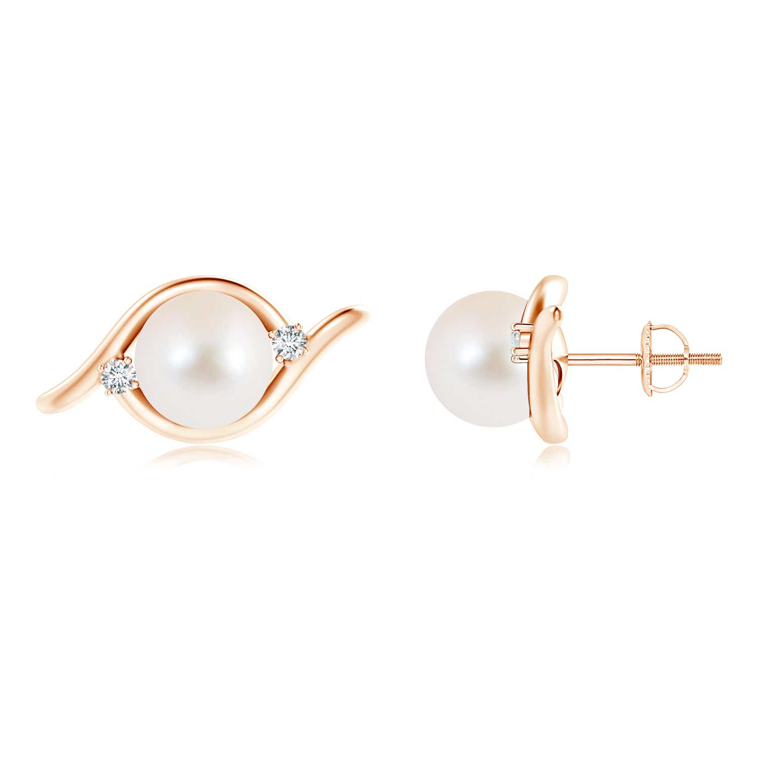 9mm-Freshwater-Cultured-Pearl-Diamond-Stud-Earrings-Silver-14K-Gold