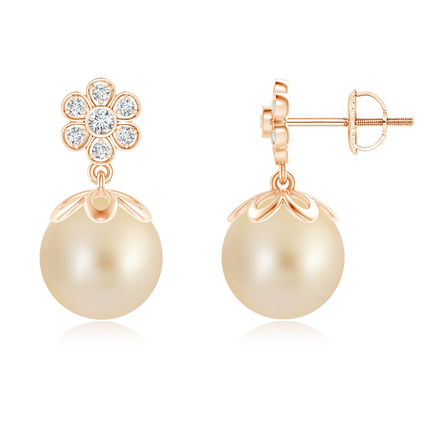 Cultured-Golden-South-Sea-Pearl-Floral-Drop-Earrings-14k-Yellow-Gold-Silver