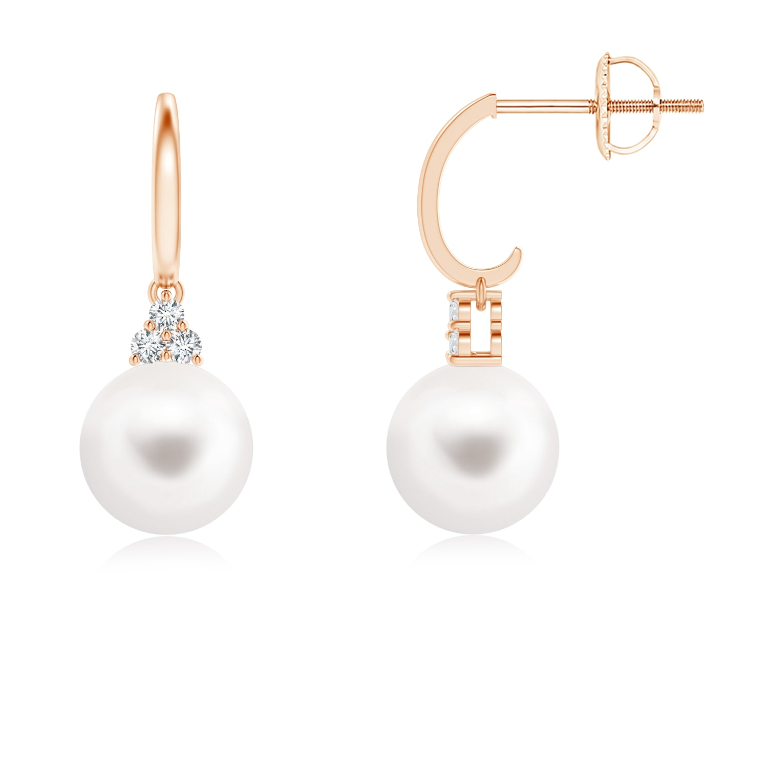 Dangling Freshwater Cultured Pearl Hoop Earrings with Trio Diamonds - Angara.com