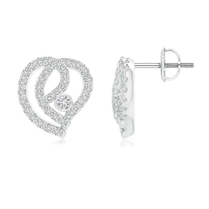 Solitaire Bezel-Set Diamond Abstract Heart Stud Earrings - Angara.com