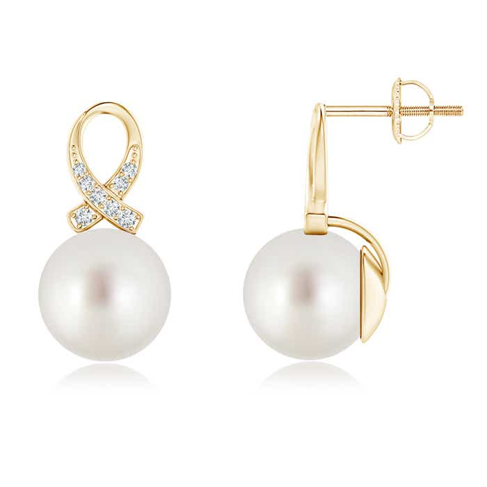 Twisted South Sea Cultured Pearl Solitaire Earrings with Diamond Ribbon - Angara.com