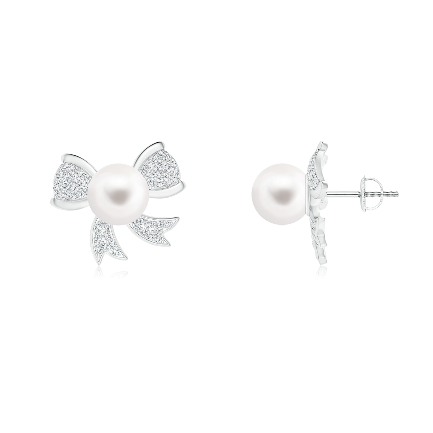 Freshwater Cultured Pearl Bow Stud Earrings with Diamonds - Angara.com