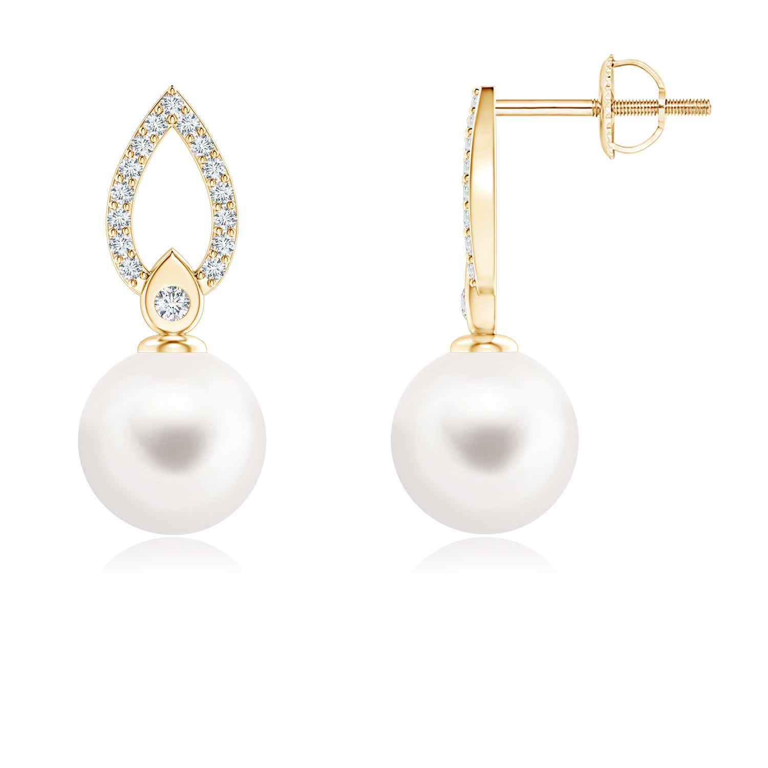 Freshwater Cultured Pearl Flame Drop Earrings with Diamond Accents - Angara.com
