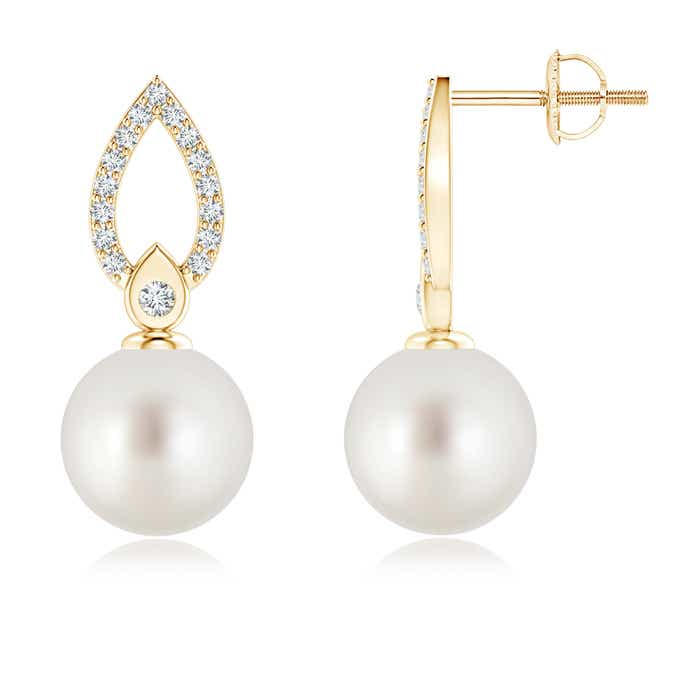 South Sea Cultured Pearl Flame Drop Earrings with Diamond Accents - Angara.com