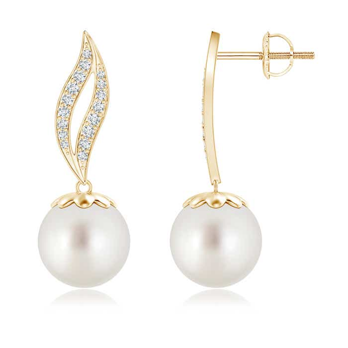 Angara Golden South Sea Cultured Pearl Flame Earrings with Diamonds 70eeszke