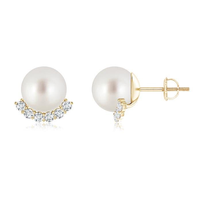 Angara South Sea Cultured Pearl Studs with Diamond tNmH6B