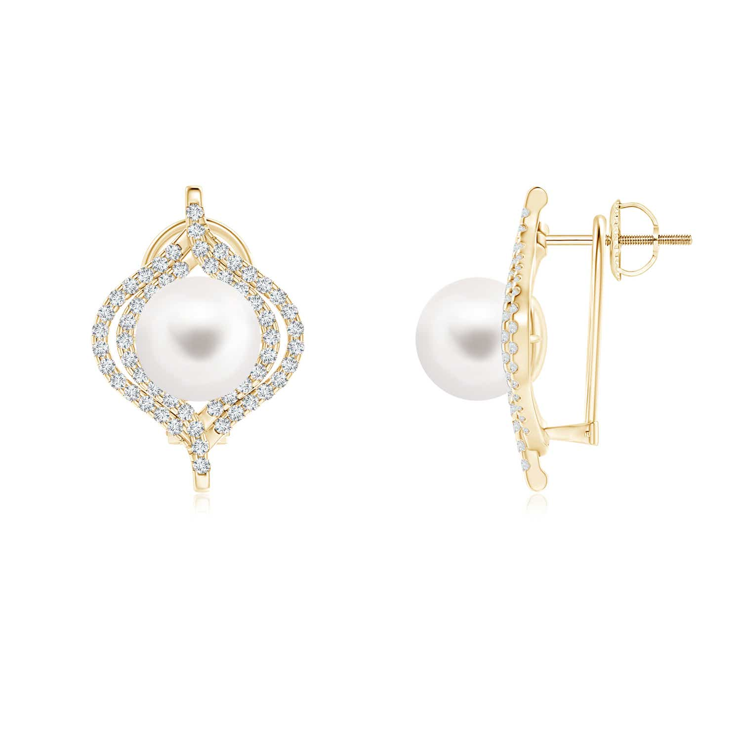 FreshWater Cultured Pearl Omega Back Earrings with Diamond Double Halo - Angara.com