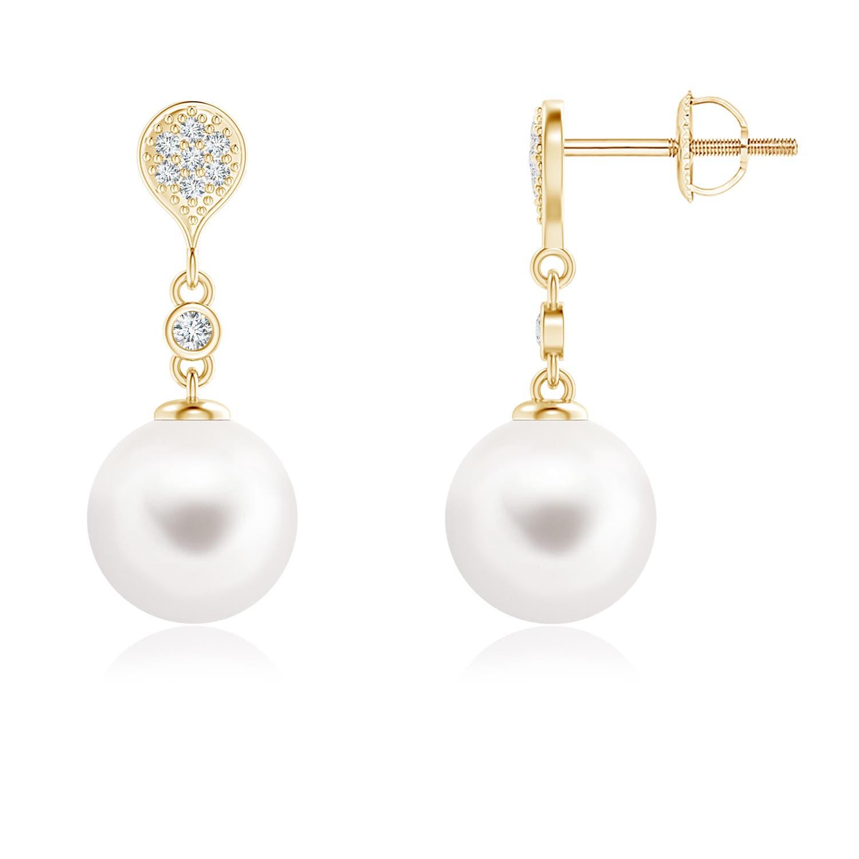 FreshWater Cultured Pearl Dangle Earrings with Diamond Motif - Angara.com