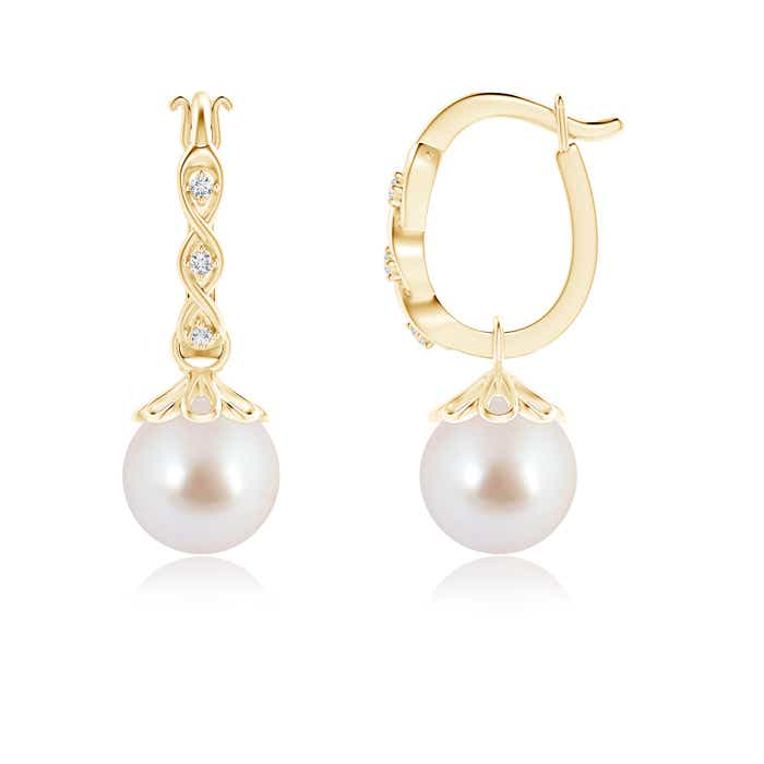 Angara Akoya Cultured Pearl and Diamond Leverback Earrings 00bg28V