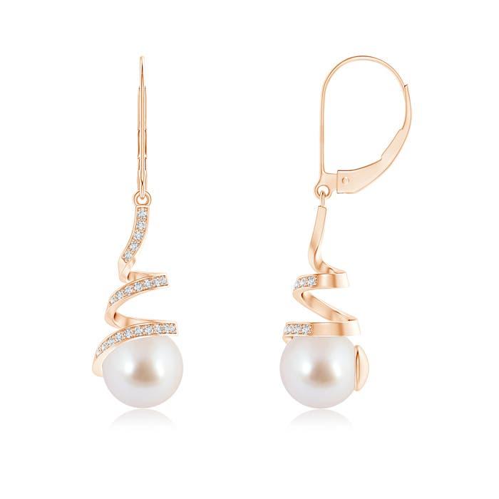 Spiral Ribbon Akoya Cultured Pearl Leverback Earrings With Diamonds - Angara.com