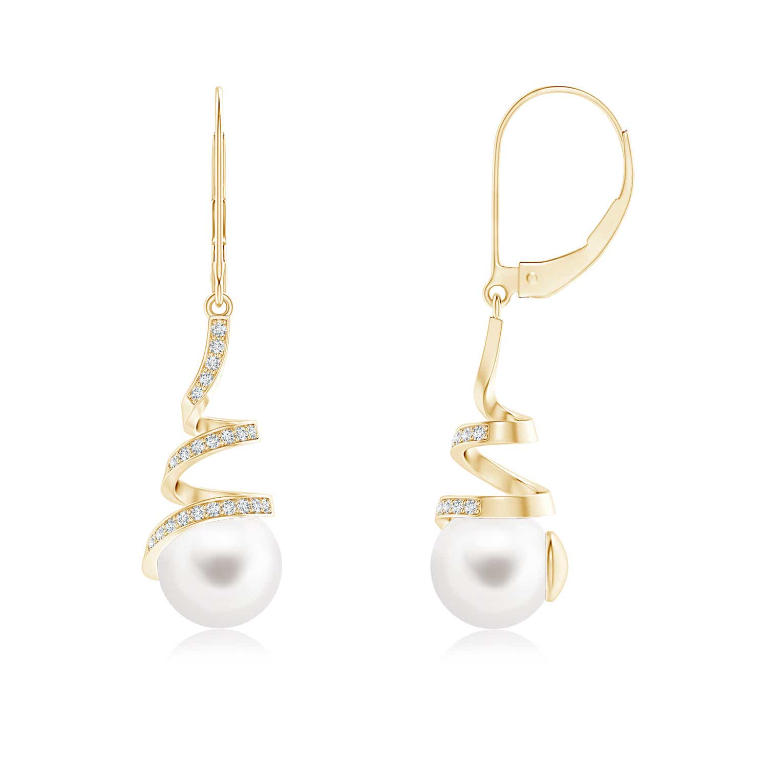 Spiral Ribbon Freshwater Cultured Pearl Leverback Earrings With