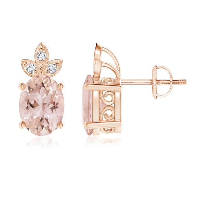 Oval Morganite Solitaire Stud Earrings with Diamond Studded Leaf Motifs - Angara.com