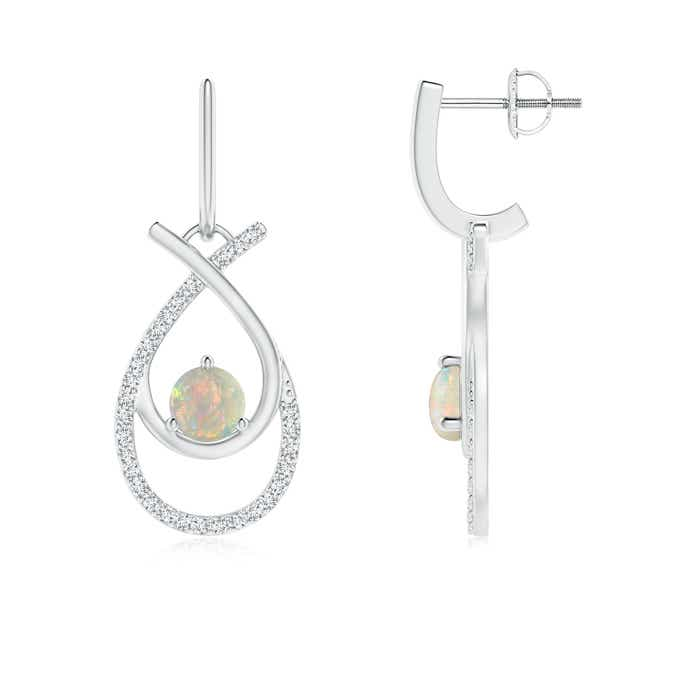 Ribbon Cross Round Opal and Diamond Drop Hoop Earrings - Angara.com