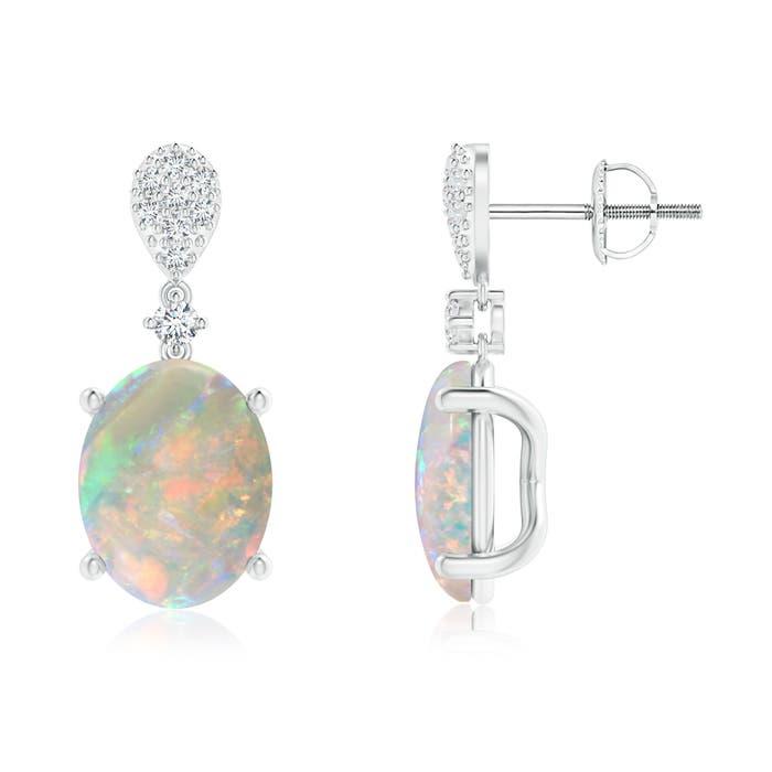 Angara Oval Opal Stud Earrings Yellow Gold 5r6OroBE
