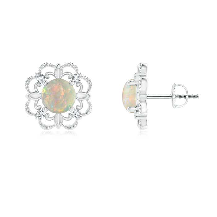 Angara Vintage Style Opal and Diamond Fleur De Lis Earrings in Yellow Gold V4SlQO