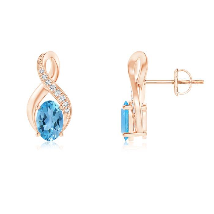 Angara Semi-Bezel Oval Swiss Blue Topaz Solitaire Earrings mNjQo