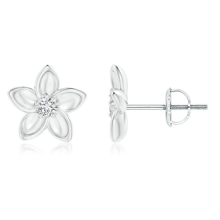 Classic Round Diamond Plumeria Flower Earrings - Angara.com