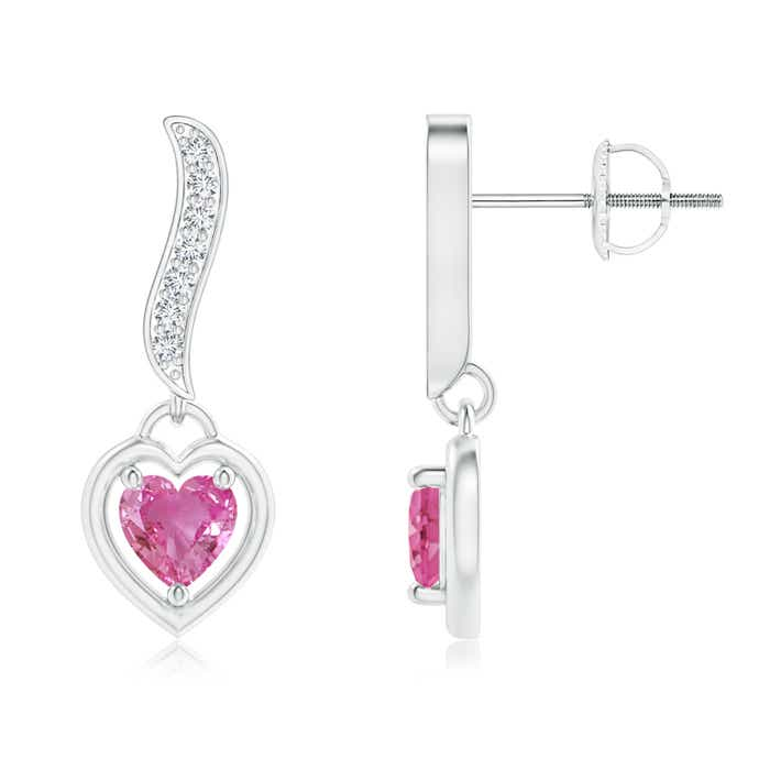 Angara Heart Sapphire and Diamond Ribbon Cross Earrings in 14k Rose Gold