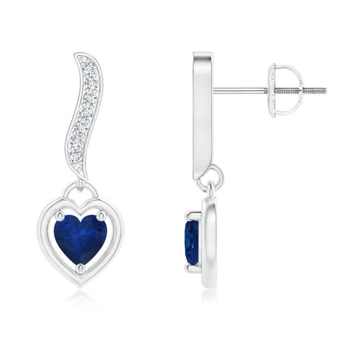 Heart Framed Sapphire and Diamond Swirl Drop Earrings - Angara.com