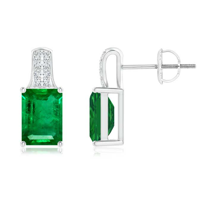 Emerald Cut Emerald Solitaire Stud Earrings with Diamond Accents - Angara.com