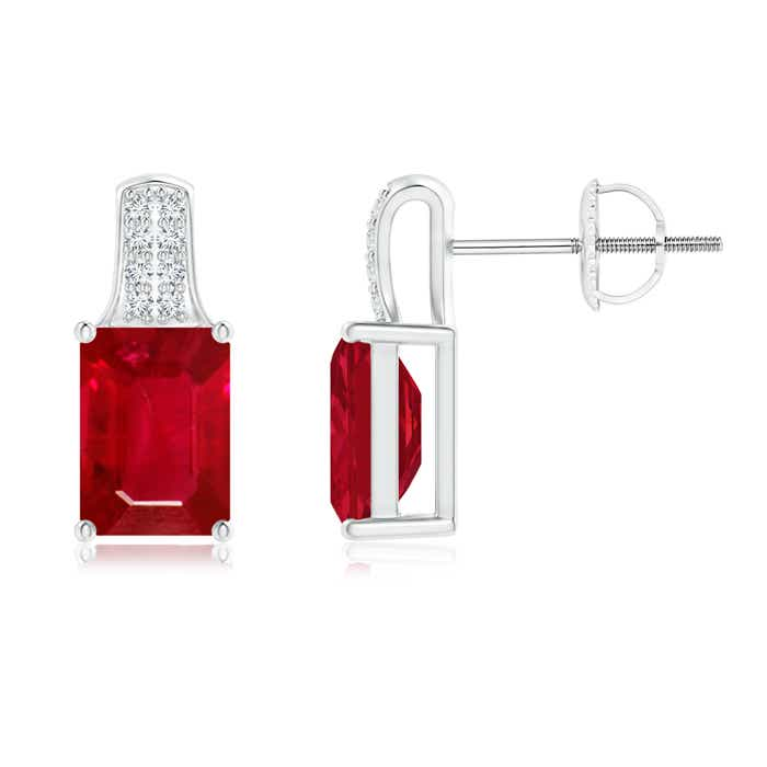 Emerald Cut Ruby Solitaire Stud Earrings with Diamond Accents - Angara.com
