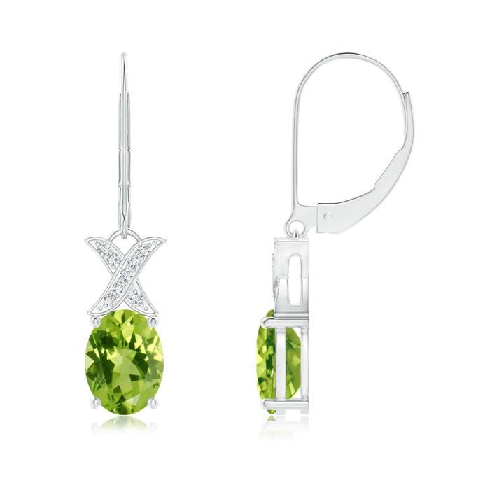 XO Diamond with Solitaire Peridot Leverback Drop Earrings - Angara.com