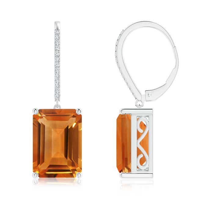 Angara Claw Emerald-Cut Citrine Solitaire Earrings in White Gold TAbV9i