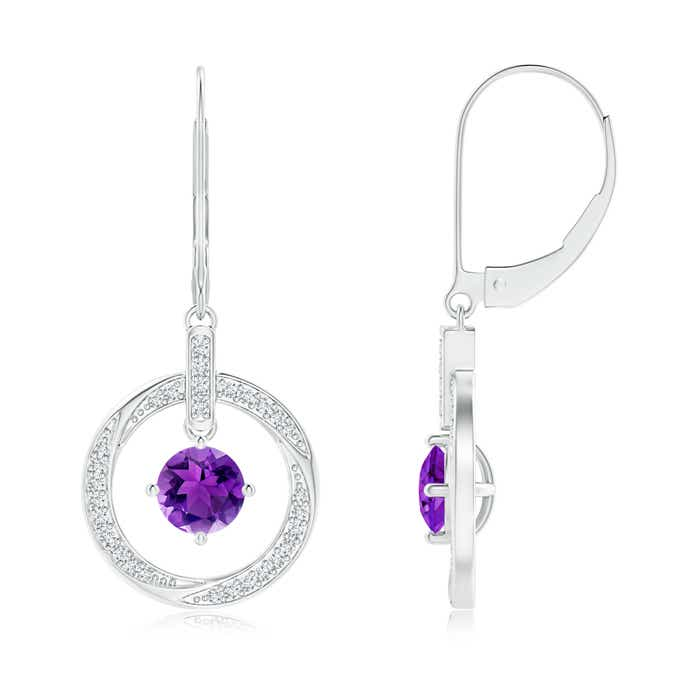 Solitaire Amethyst Open Circle Drop Earrings with Diamond Accents - Angara.com