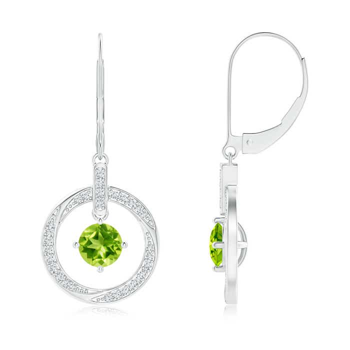 Solitaire Peridot Open Circle Drop Earrings with Diamond Accents - Angara.com
