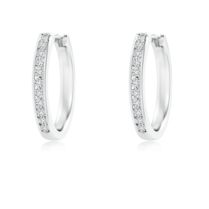 Angara Channel Set Round Diamond Tapered Hoop Earrings dQzUH8BT