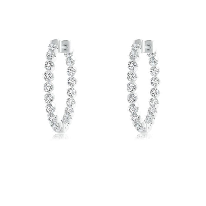 Angara Linear Double Diamond Loop Earrings with Prong Setting lc5FE