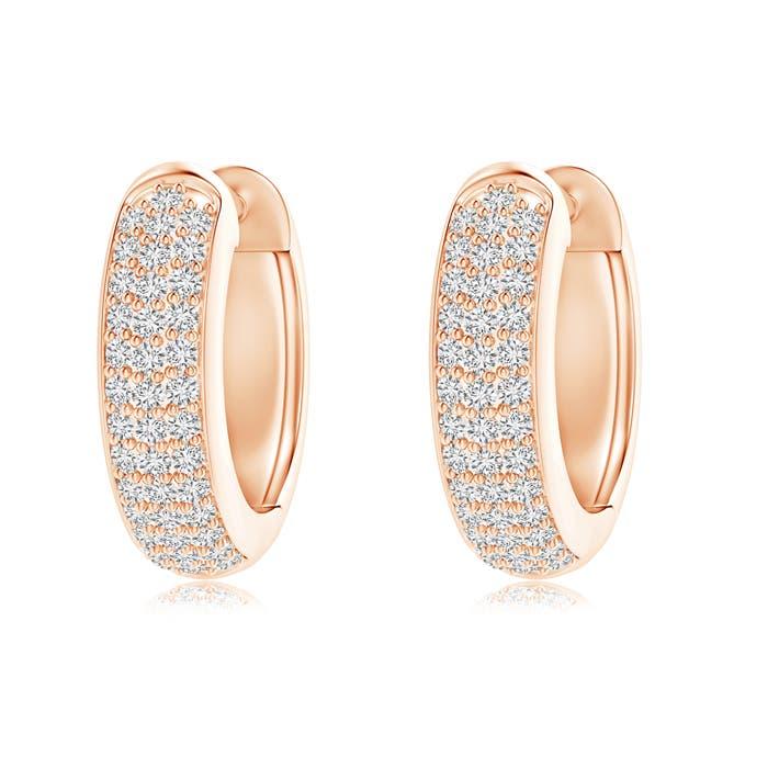 Angara Triple-Row Diamond Studded Huggie Hoop Earrings in Yellow Gold 1AMshL1