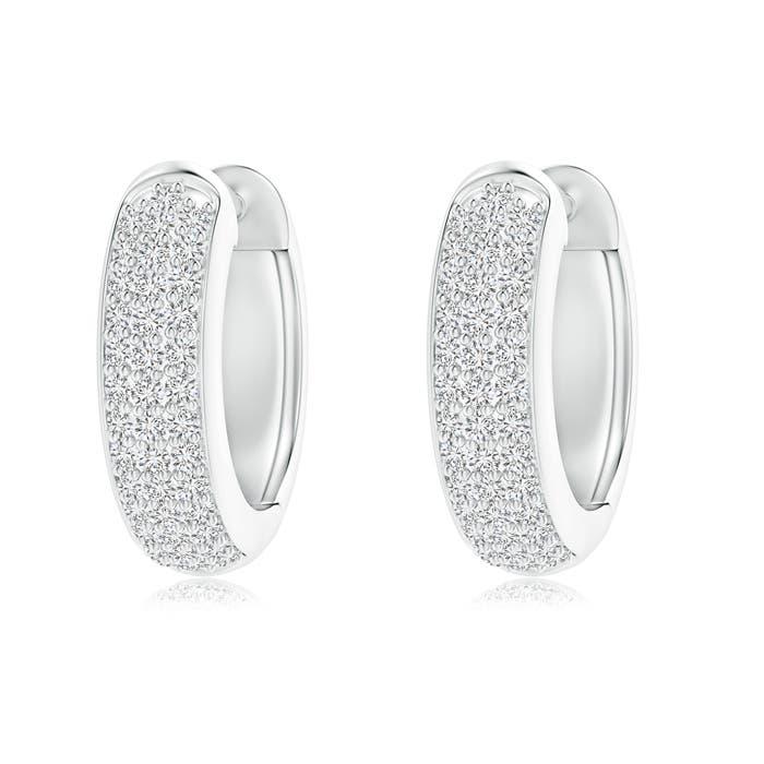 Triple-Row Diamond Studded Huggie Hoop Earrings - Angara.com
