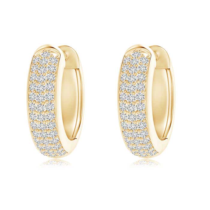Angara Triple-Row Diamond Studded Huggie Hoop Earrings in Platinum 3BCYuAl
