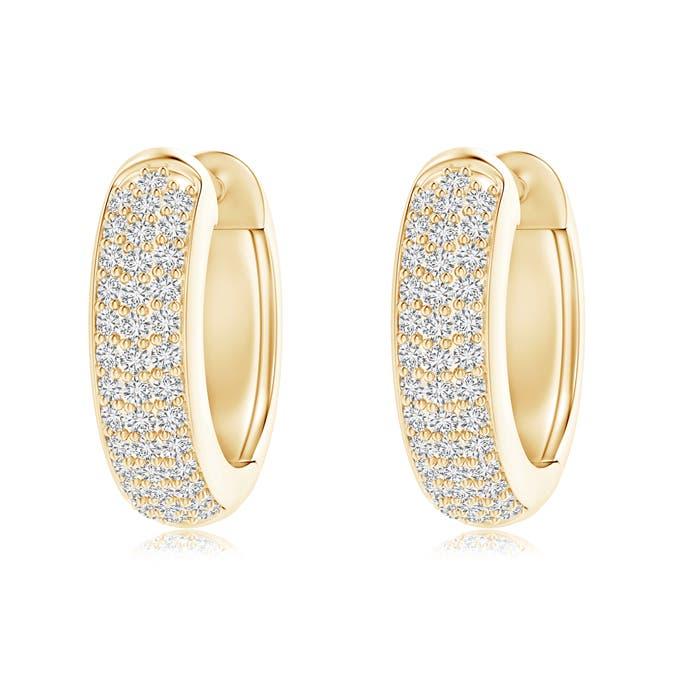 Angara Triple-Row Diamond Studded Huggie Hoop Earrings in White Gold S9rcTMjcfP