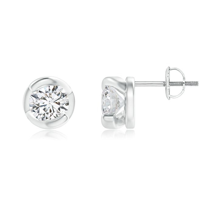 Spiral-Framed Diamond Solitaire Stud Earrings - Angara.com
