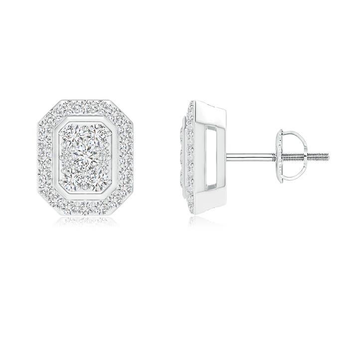 Scattered Round Diamond Composite Octagon Stud Earrings - Angara.com