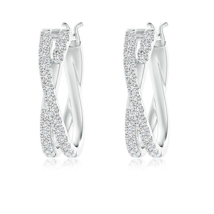 Pave-Set Round Diamond Criss Cross Hoop Earrings - Angara.com