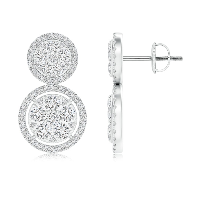 Two-Tier Diamond Cluster Halo Stud Earrings - Angara.com