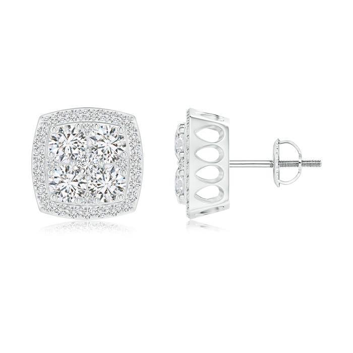 Cushion Shaped Composite Diamond Halo Stud Earrings - Angara.com