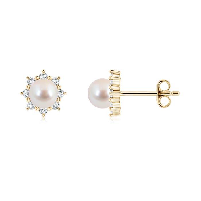 Akoya Cultured Pearl and Diamond Floral Halo Stud Earrings - Angara.com
