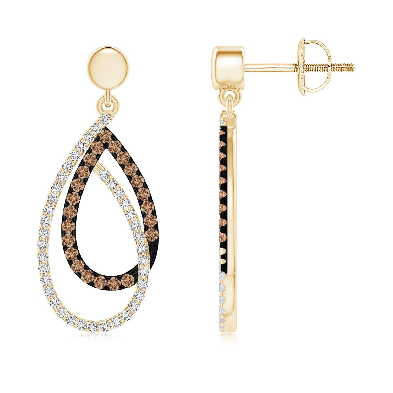 Angara Brown and White Diamond Intertwined Infinity Drop Earrings oVzsF